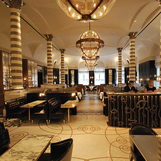 TIled dining area in Corinthia Hotel in London