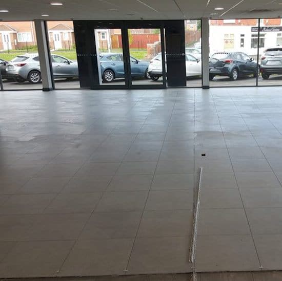 Floor in London showroom tiled