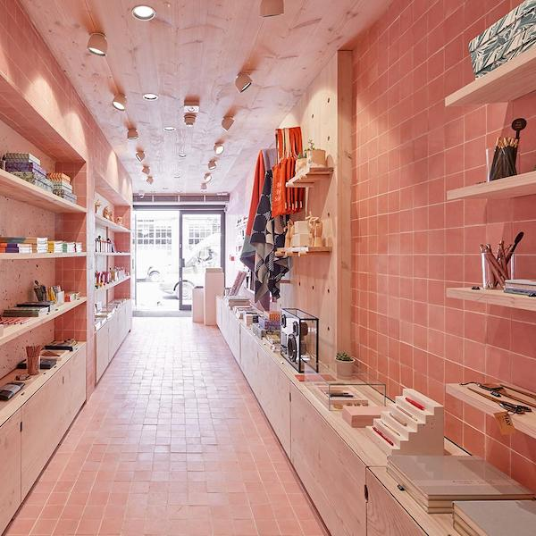 pink tiled shop leading out to door