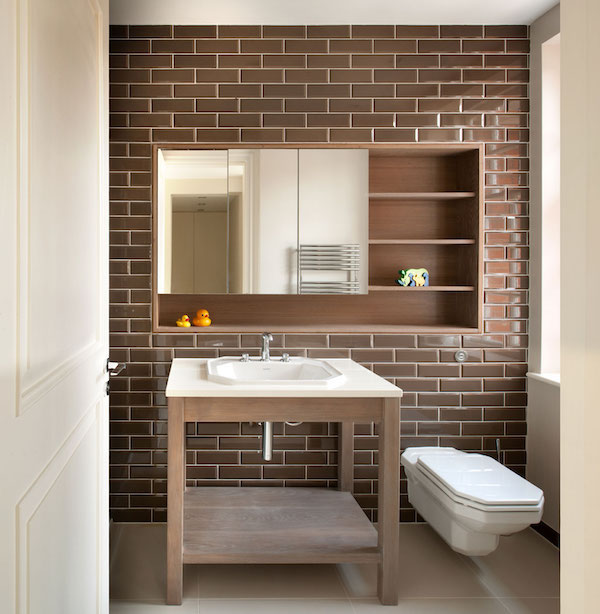 brown metro wall tiles in stylish bathroom