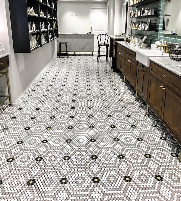 patterned tiles with white and black