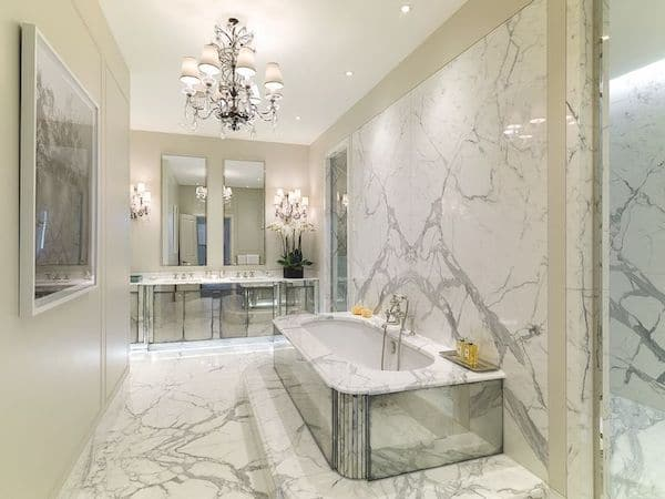 marble tiles laid in master bathroom of mansion located at No.6 Buckingham Gate