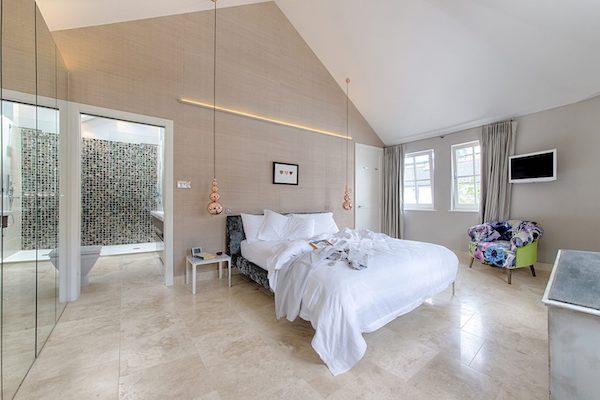 Marble effect tiles on master bedroom floor
