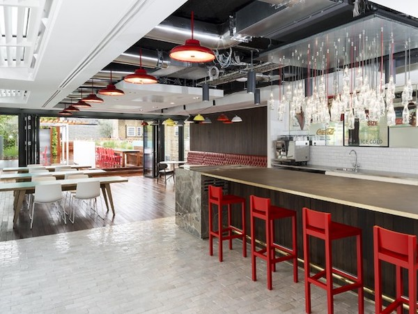 floor tiles laid in bar of office