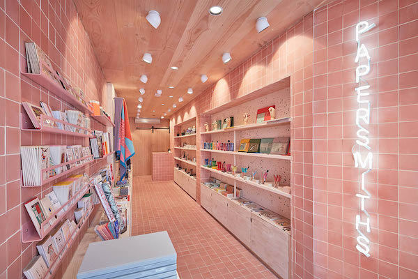 pink tiles on walls and floors of Papersmiths store