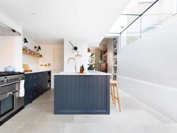 A kitchen tiled with porcelain floor tiles